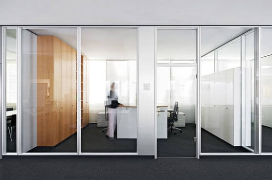 glass partitions with aluminium frame for a meeting room