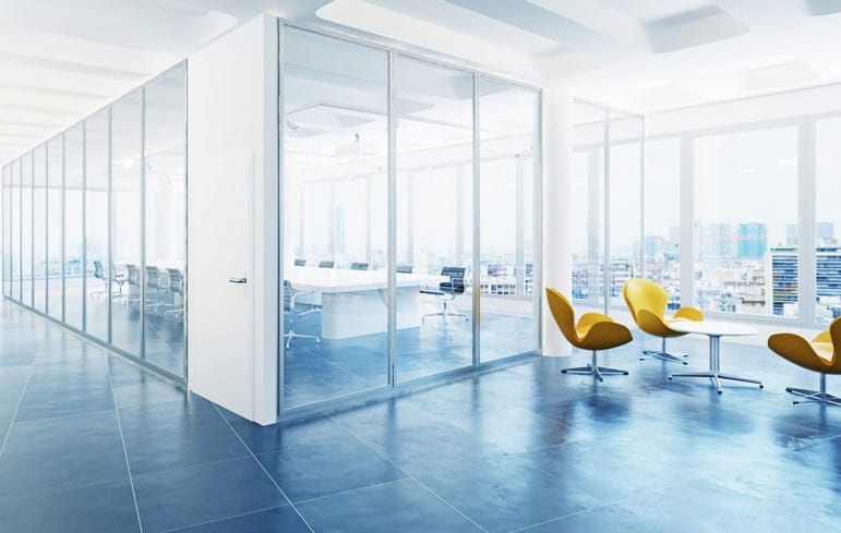modern sydney office partitions using glass